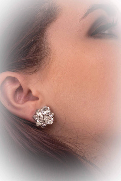 PORTIA:  Crystal Cluster Bridal Earrings - BlingBaddaBoom - Minimalist, Vintage, Modern Wedding and Bridal Jewelry