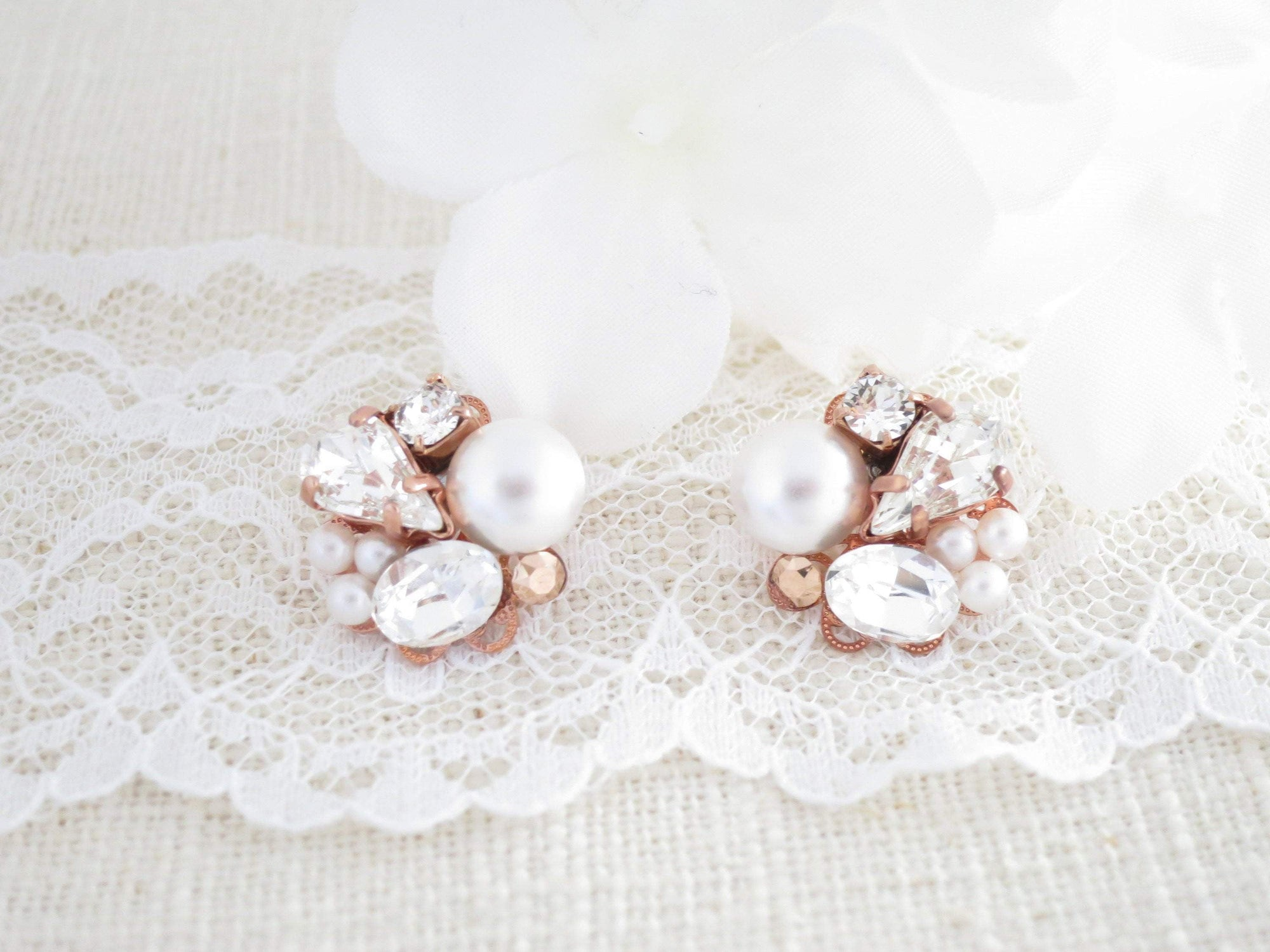 DIEDRA:  Rose Gold Asymmetrical Studs - BlingBaddaBoom - Minimalist, Vintage, Modern Wedding and Bridal Jewelry