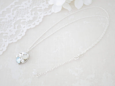 LUNA:  Something Blue Cluster Necklace - BlingBaddaBoom - Minimalist, Vintage, Modern Wedding and Bridal Jewelry