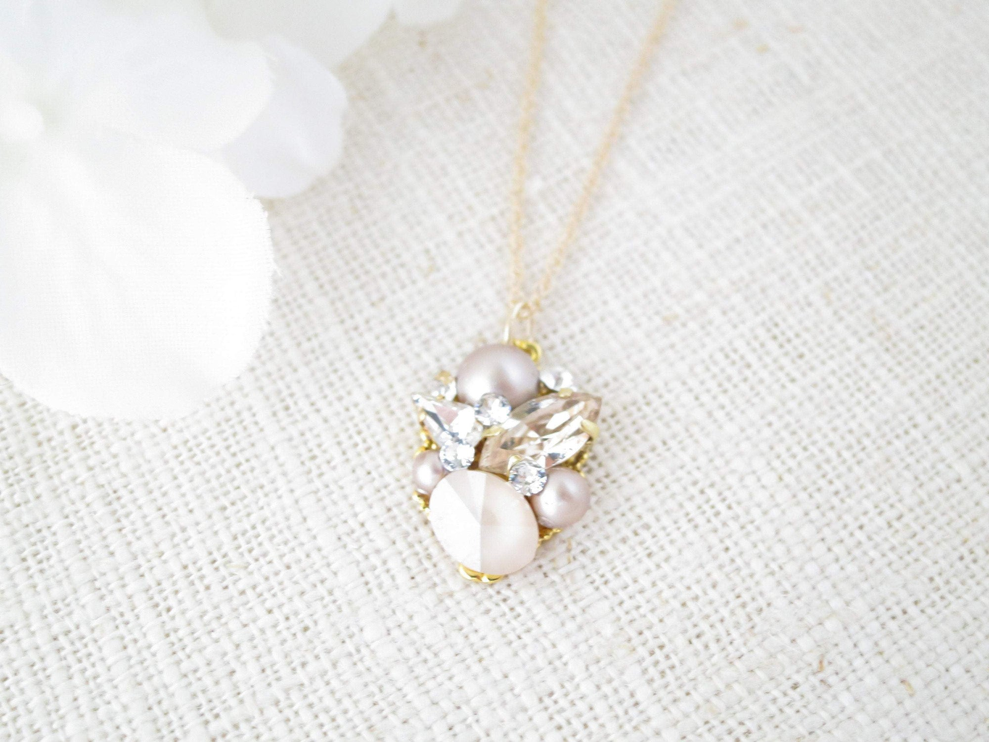 ANNE:  Dainty Cluster Pendant Necklace - BlingBaddaBoom - Minimalist, Vintage, Modern Wedding and Bridal Jewelry