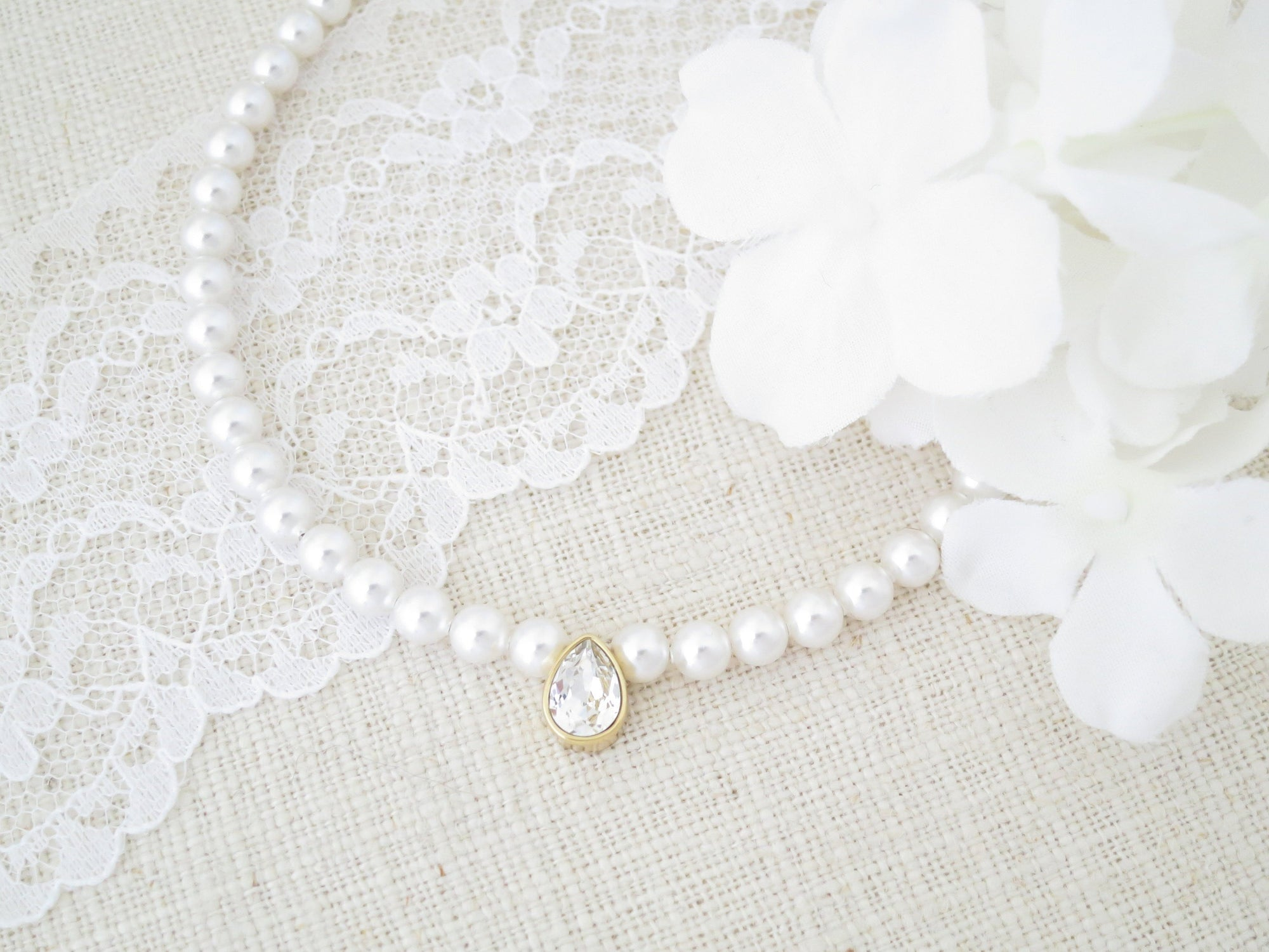 LOUISA:  Simple Pearl Necklace with Sparkling Teardrop - BlingBaddaBoom - Minimalist, Vintage, Modern Wedding and Bridal Jewelry