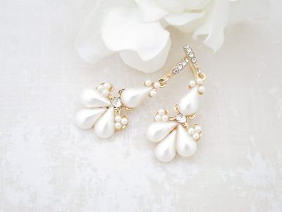 GRACE:  Pearl Teardrop Bridal Earrings - BlingBaddaBoom - Minimalist, Vintage, Modern Wedding and Bridal Jewelry