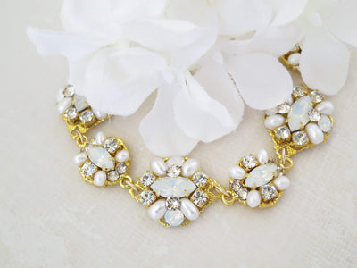 SERENA:  White Opal Marquise Bridal Bracelet - BlingBaddaBoom - Minimalist, Vintage, Modern Wedding and Bridal Jewelry
