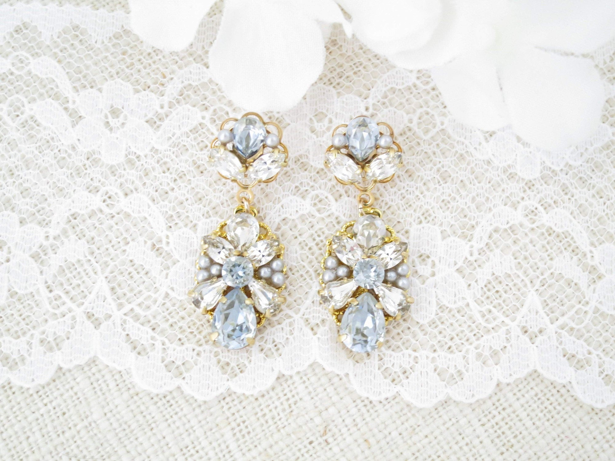 SOPHIA:  Unique Dusty Blue Drop Earrings - BlingBaddaBoom - Minimalist, Vintage, Modern Wedding and Bridal Jewelry