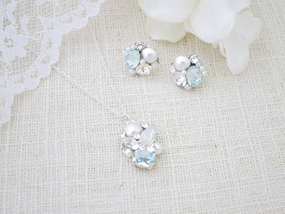 JULIA:  Petite Something Blue Bridal Earrings - BlingBaddaBoom - Minimalist, Vintage, Modern Wedding and Bridal Jewelry