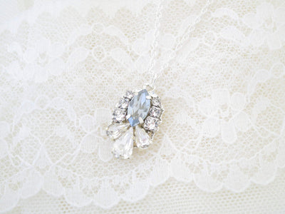 MOLLY:  Crystal Marquise Pendant Necklace - BlingBaddaBoom - Minimalist, Vintage, Modern Wedding and Bridal Jewelry