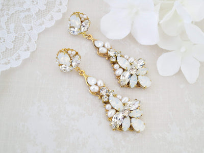 PARIS:  Opal Statement Chandelier Earrings - BlingBaddaBoom - Minimalist, Vintage, Modern Wedding and Bridal Jewelry