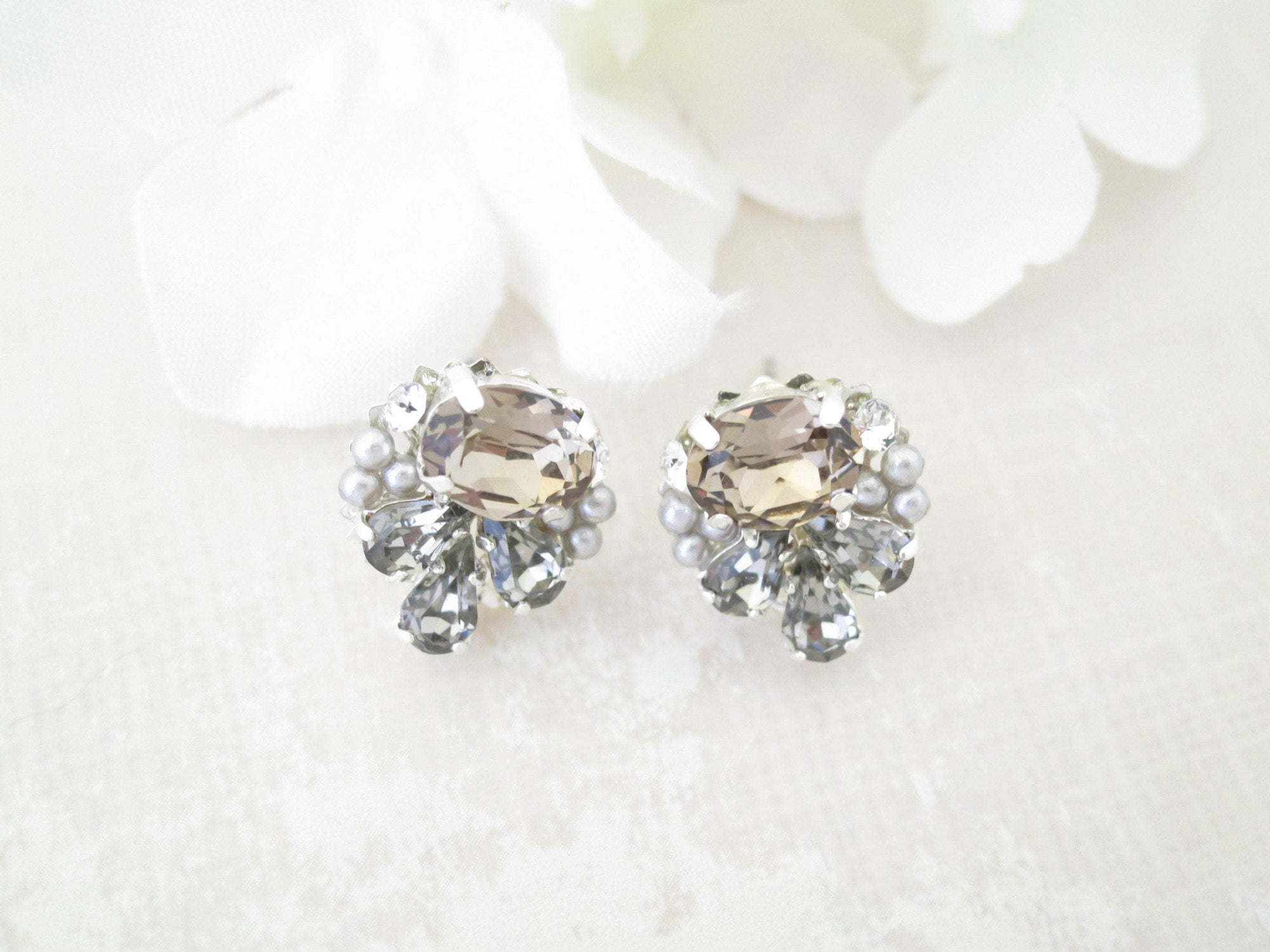 TRACY:  Muted Gray Crystal Button Earrings - BlingBaddaBoom - Minimalist, Vintage, Modern Wedding and Bridal Jewelry