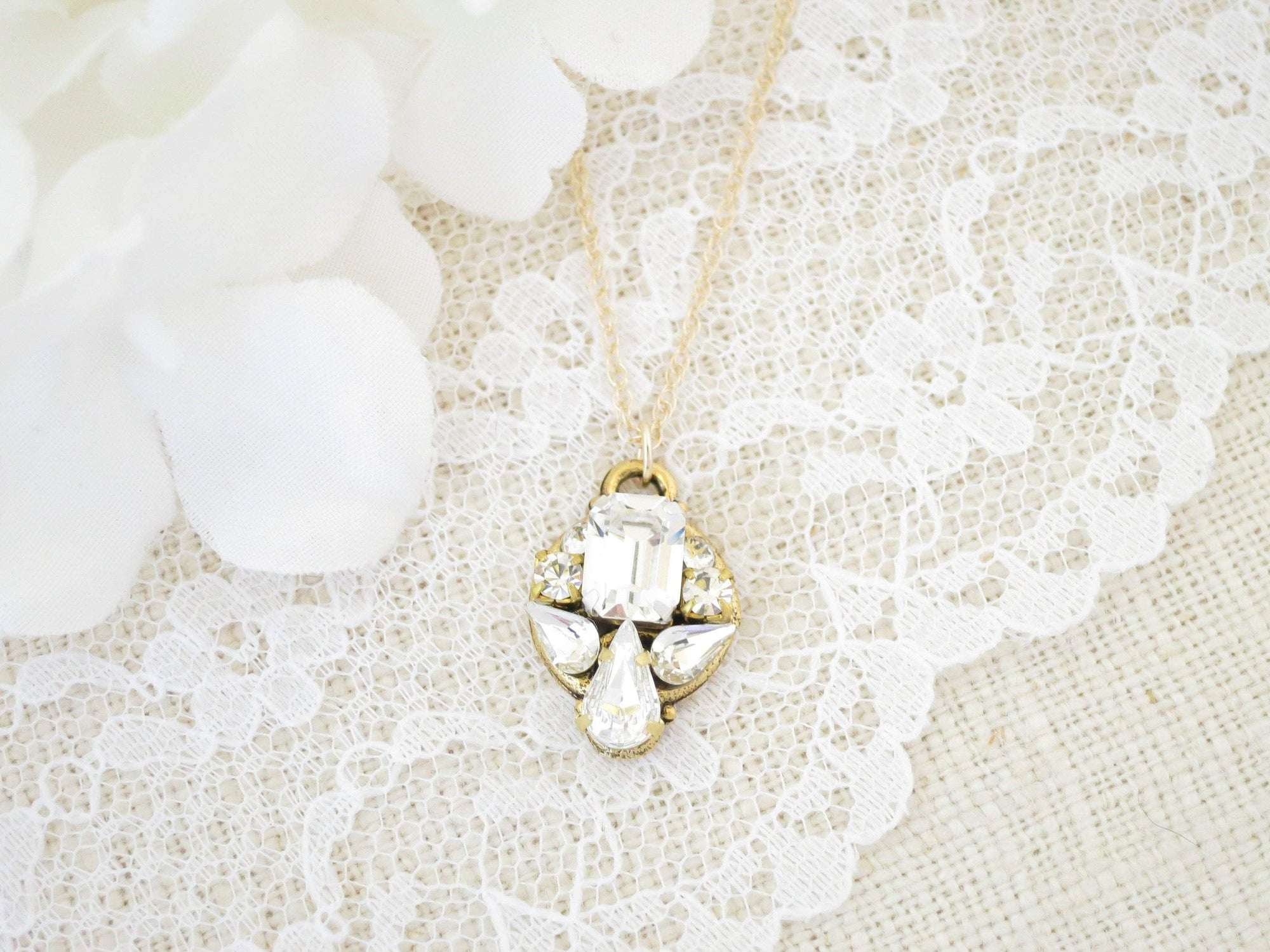 CLAIRE:  Petite Art Deco Necklace - BlingBaddaBoom - Minimalist, Vintage, Modern Wedding and Bridal Jewelry