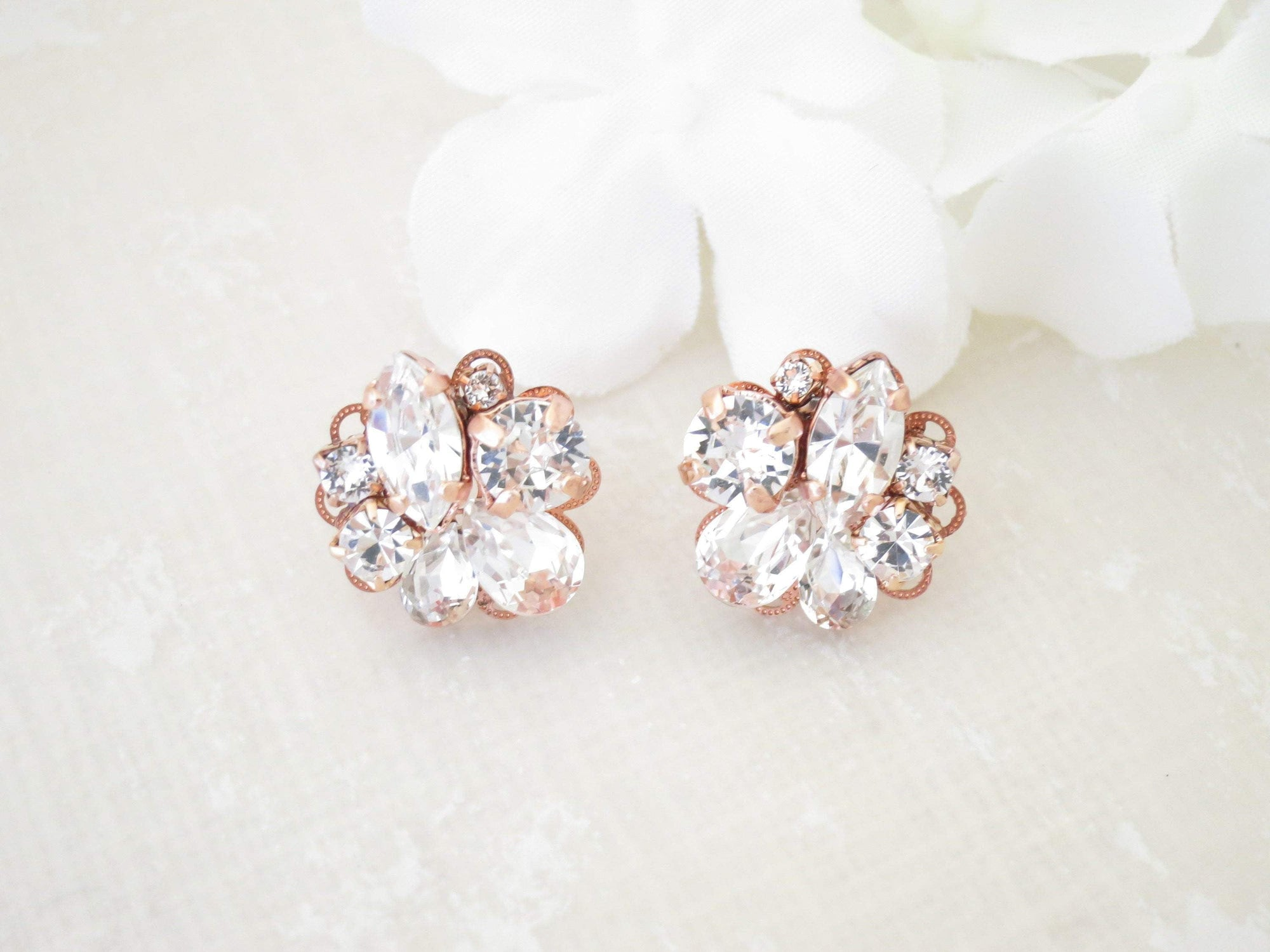BEVERLY:  Rose Gold Crystal Cluster Earrings - BlingBaddaBoom - Minimalist, Vintage, Modern Wedding and Bridal Jewelry
