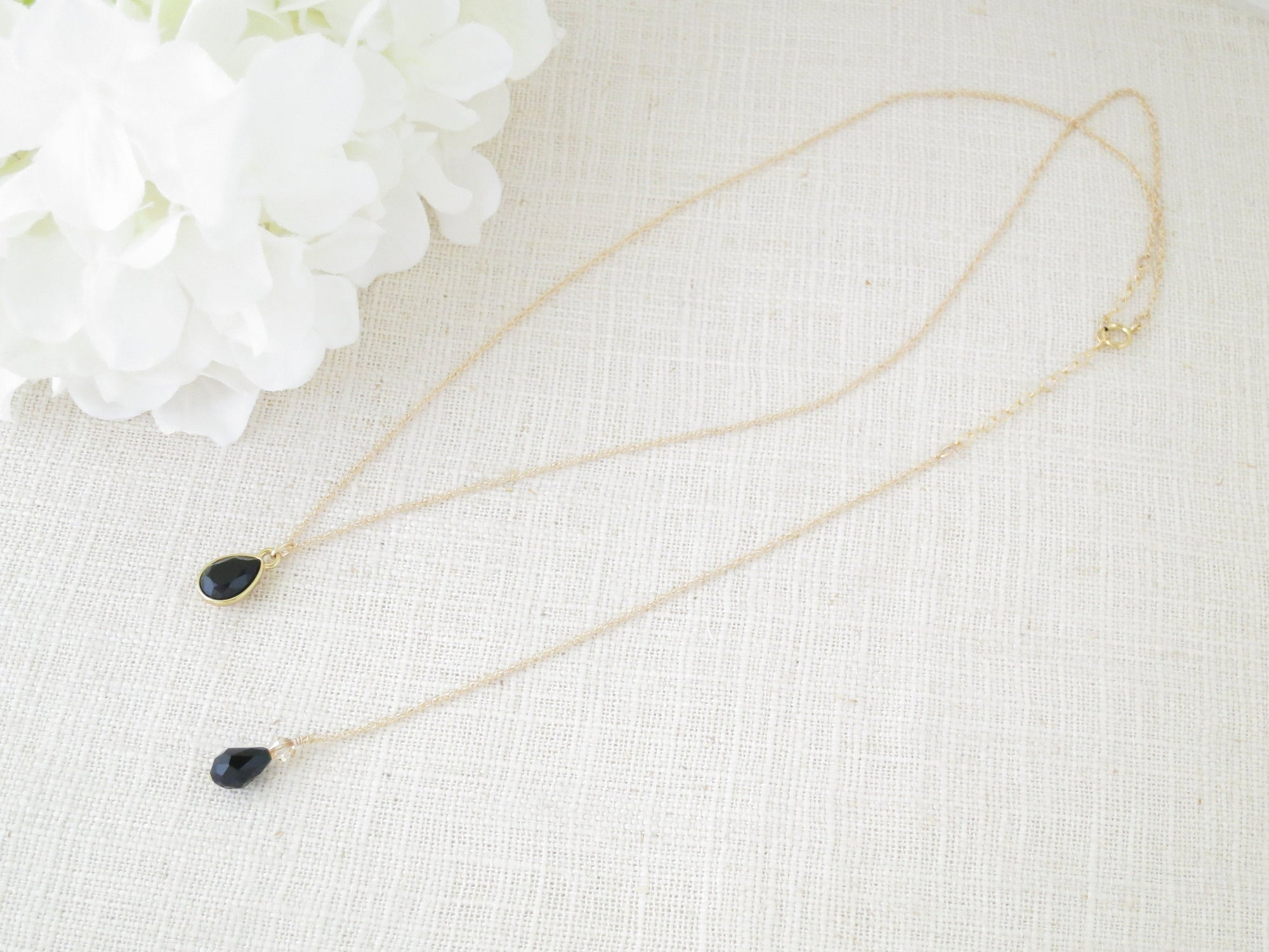 FAITH:  Swarovski Black Teardrop Necklace - BlingBaddaBoom - Minimalist, Vintage, Modern Wedding and Bridal Jewelry