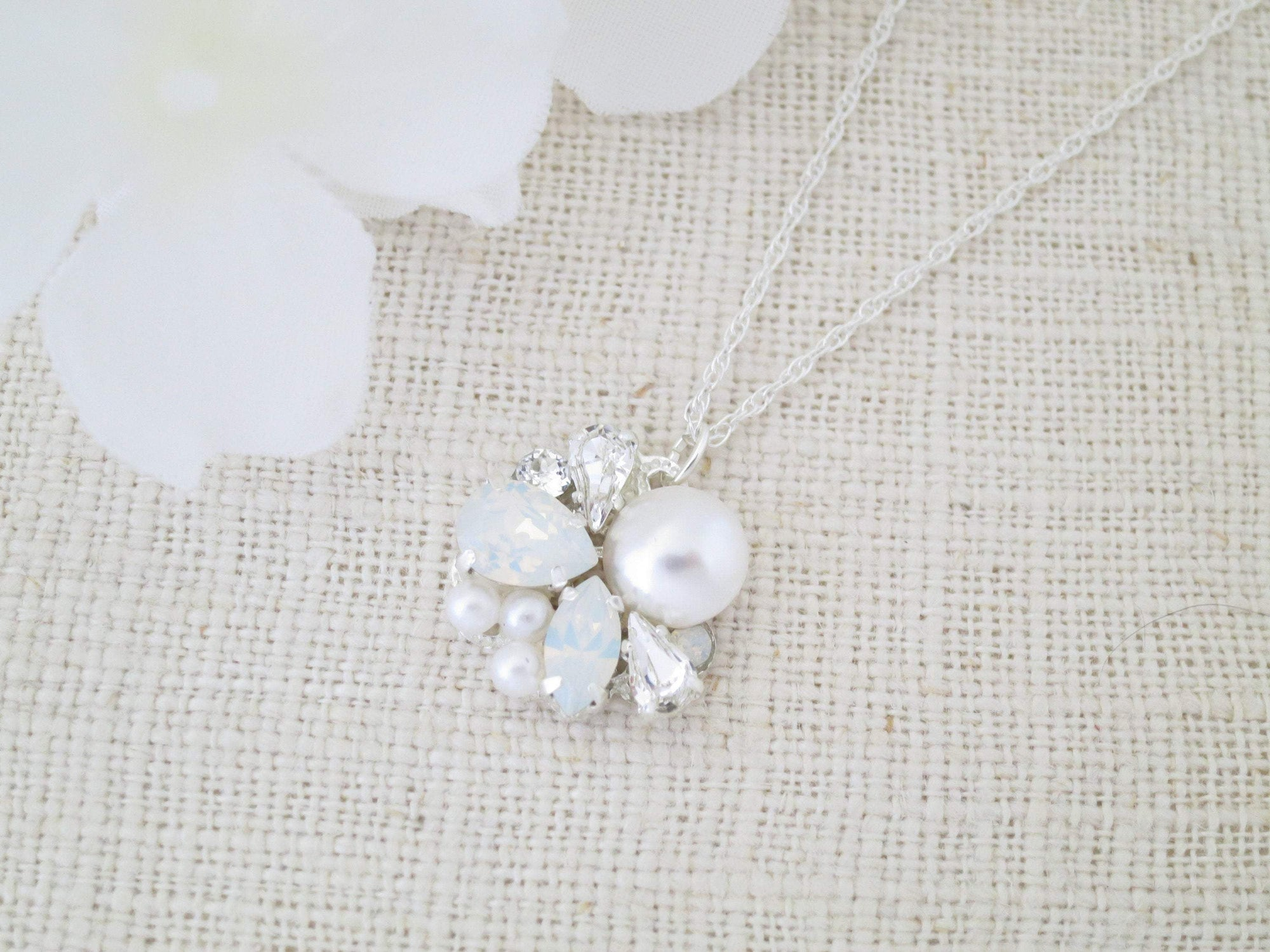 COOPER:  Opal and Pearl Pendant Necklace - BlingBaddaBoom - Minimalist, Vintage, Modern Wedding and Bridal Jewelry