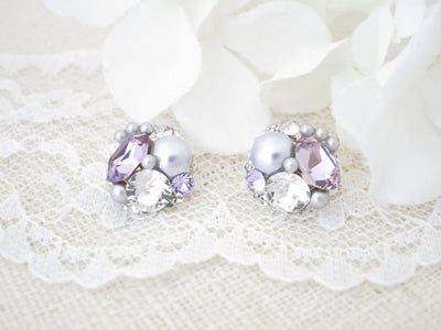PAMELA:  Perfect Purple Button Stud - BlingBaddaBoom - Minimalist, Vintage, Modern Wedding and Bridal Jewelry
