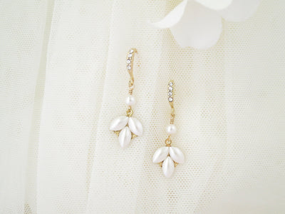 GOLDIE:  Dainty Marquise Dangle Earrings - BlingBaddaBoom - Minimalist, Vintage, Modern Wedding and Bridal Jewelry