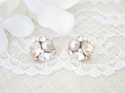 WILLOW:  Trendy Champagne Button Earrings - BlingBaddaBoom - Minimalist, Vintage, Modern Wedding and Bridal Jewelry