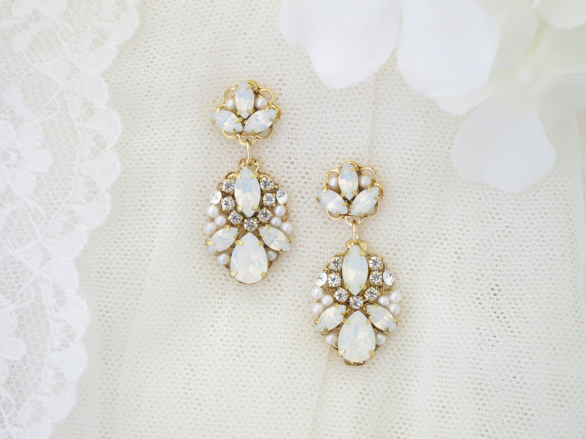 FOREVER:  Enchanting Opal Drop Earrings - BlingBaddaBoom - Minimalist, Vintage, Modern Wedding and Bridal Jewelry