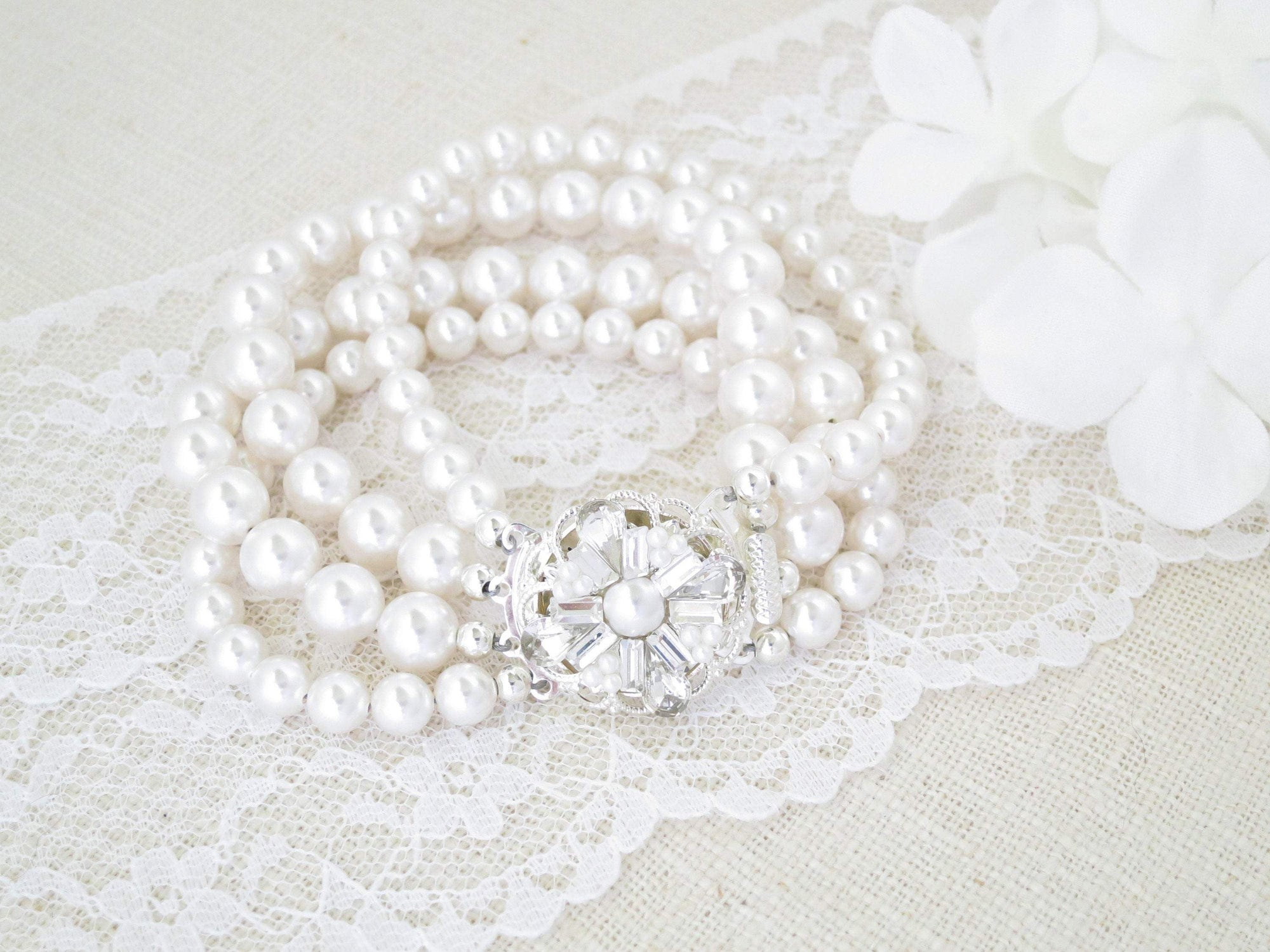 NOLA:  Multi Strand Pearl Cuff - BlingBaddaBoom - Minimalist, Vintage, Modern Wedding and Bridal Jewelry