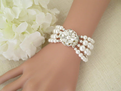 NOLA:  Multi Strand Pearl Cuff Bracelet - BlingBaddaBoom - Minimalist, Vintage, Modern Wedding and Bridal Jewelry