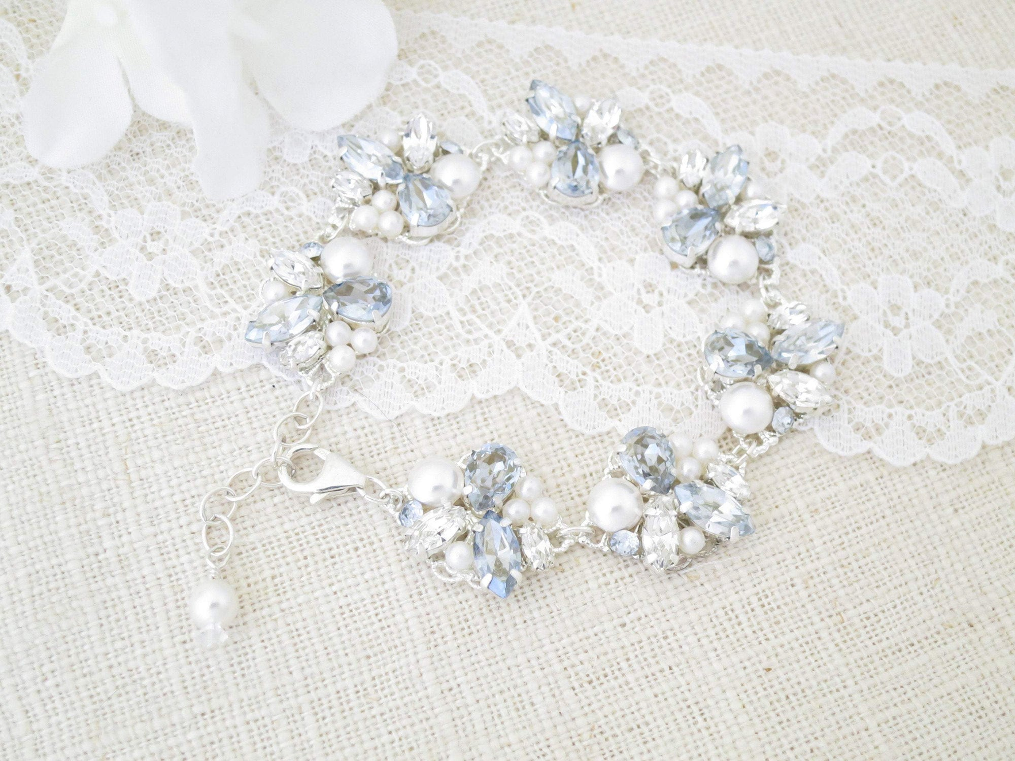 BIANCA:  Trendy Dusty Blue Bracelet - BlingBaddaBoom - Minimalist, Vintage, Modern Wedding and Bridal Jewelry