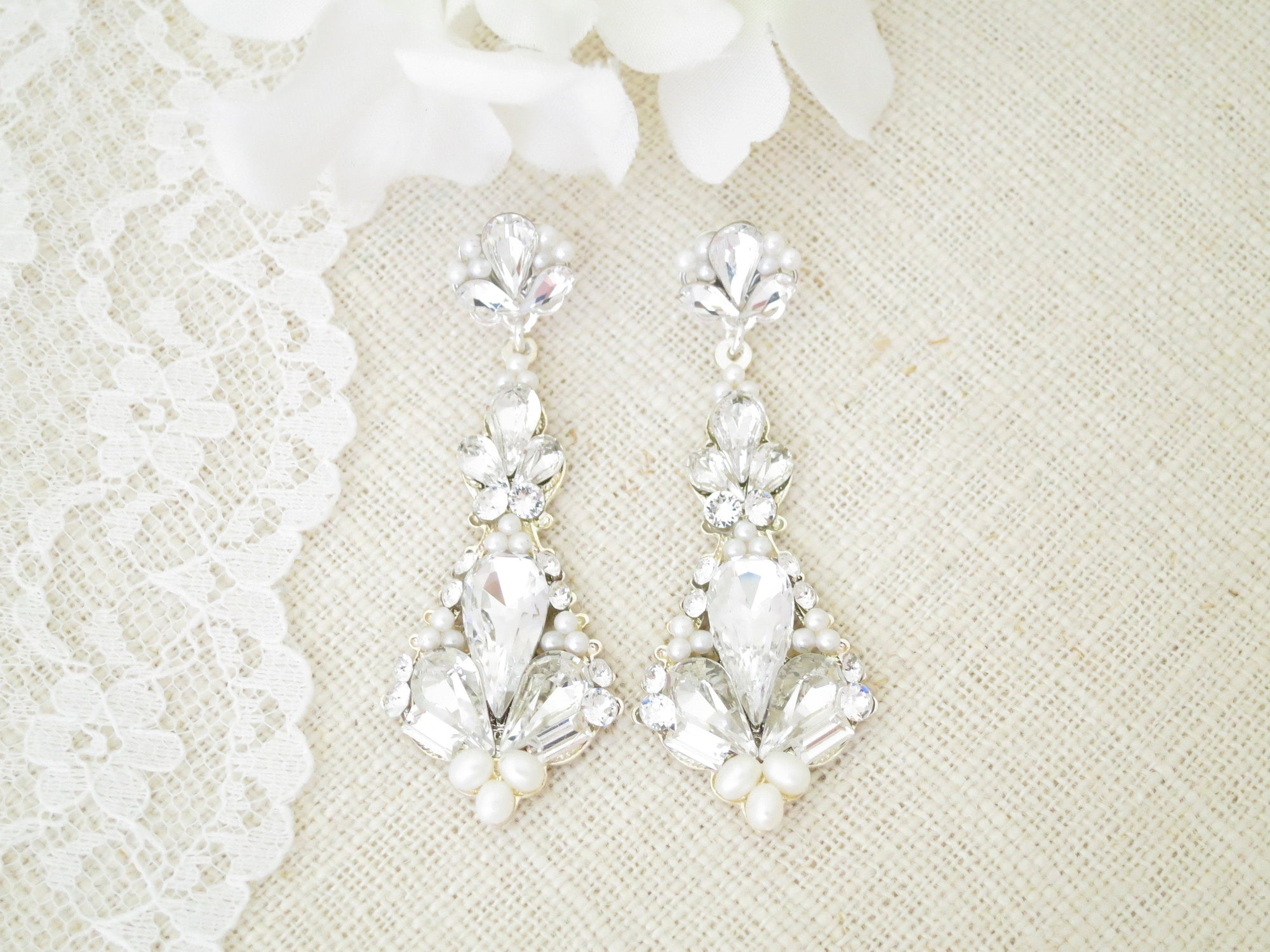 GALA:  Sparkling Art Deco Earrings - BlingBaddaBoom - Minimalist, Vintage, Modern Wedding and Bridal Jewelry