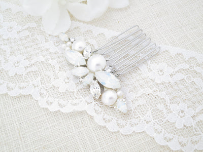 REMI:  Petite Opal Hair Comb - BlingBaddaBoom - Minimalist, Vintage, Modern Wedding and Bridal Jewelry
