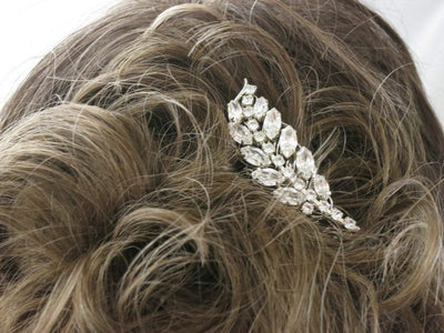 LISA:  Crystal Leaf Hair Comb - BlingBaddaBoom - Minimalist, Vintage, Modern Wedding and Bridal Jewelry
