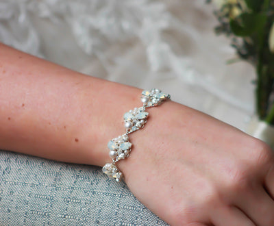 REESE:  Subtle White Opal and Pearl Bridal Bracelet - BlingBaddaBoom - Minimalist, Vintage, Modern Wedding and Bridal Jewelry