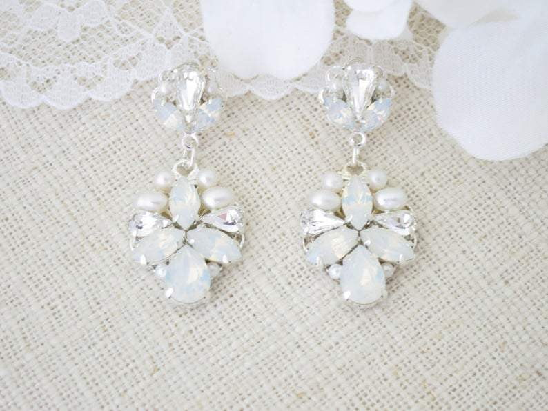 BECCA:  Romantic Opal Drop Bridal Earrings - BlingBaddaBoom - Minimalist, Vintage, Modern Wedding and Bridal Jewelry