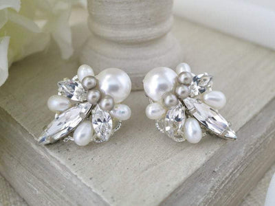 ERICA:  Captivating Art Deco Bridal Earrings - BlingBaddaBoom - Minimalist, Vintage, Modern Wedding and Bridal Jewelry