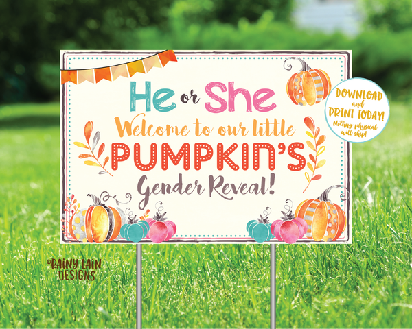 Pumpkin Gender Reveal Old Wives Tales Sign He or She What Will Our Little Pumpkin Be Voting Poster Yard Sign Pink Blue Fall Leaves