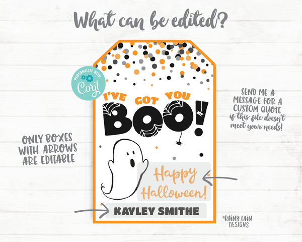 I've Got You BOO tag Happy Halloween Thank you Tags Gifts Tags Appreciation Favor Tags Teacher Staff School Co-Worker Friend Gift Boo Tags