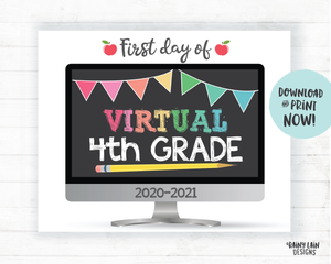 First Day of Virtual 4th grade Sign, First Day of Distance Learning Sign, E-Learning Sign, Online School, Virtual School Sign, Home School