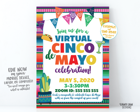 Virtual Cinco de Mayo Invitation, Cinco de Mayo Fiesta, Virtual Fiesta, Social Distancing Party from Home, Quarantine Margarita Taco Tuesday