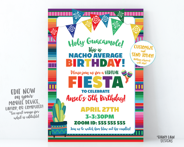 Virtual Fiesta Invitation Nacho Average Birthday Fiesta Invite, Holy Guacamole, Quarantine Party, Stay at Home Party, Social Distancing