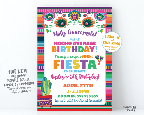 Virtual Fiesta Invitation Nacho Average Birthday Fiesta Invite, Quarantine Party, Stay at Home Party, Social Distancing, Holy Guacamole