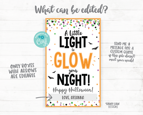 A little Light to Glow Your Night Halloween Glow Stick Tag, Glow Stick Party Favor Tags, Halloween Favor Tags, Trick or Treat Tags, Glow Tag