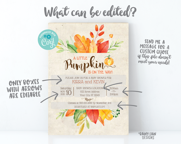 Little Pumpkin Baby Shower Invitation Fall Baby Shower Invite Fall Leaves Invitation Rustic baby shower A Little Pumpkin is on the way