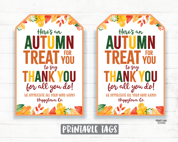 Autumn Treat Thank you Tag Fall Appreciation Gift Tags Thanksgiving Favor Tags Employee Company Essential Staff Teacher Thank you Tag Sweet