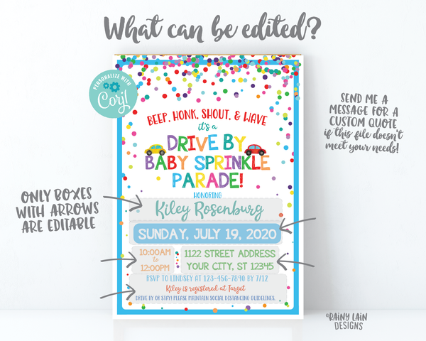 Drive By Baby Sprinkle Invitation Baby Sprinkle Drive By Invite, Sprinkle Drive By Parade Invite, Gender Neutral, Social Distancing Sprinkle
