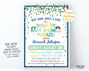 Drive By Baby Sprinkle Invitation Boy Baby Sprinkle Drive By Invite, Sprinkle Drive By Parade Invite, Social Distancing Sprinkle Car Parade