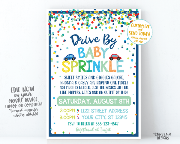 Baby Sprinkle Drive By Invite Boy Drive By Baby Sprinkle Invitation, Sprinkle Drive By Parade Invite, Social Distancing Sprinkle Car Parade