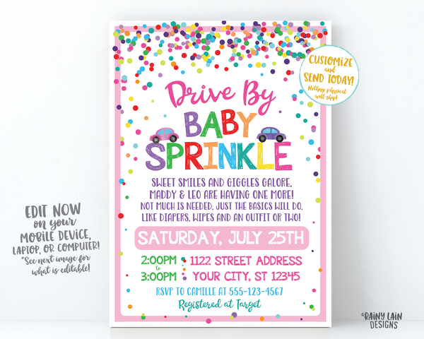 Drive By Baby Sprinkle Invitation Baby Sprinkle Drive By Invite Girl Sprinkle Drive By Parade Invite Girl Social Distancing Sprinkle Girl