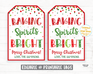 Baking Spirits Bright Tags Christmas Gift Tag Homemade Baked Goods Cookies Child Made Holiday Gift Teacher Coach Staff Co-worker Neighbor