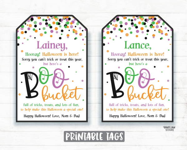 Boo Bucket Tags Halloween Printable Halloween Boo Basket Tags 2020 Halloween Tag Editable Halloween Favor Tags Social Distancing Pandemic
