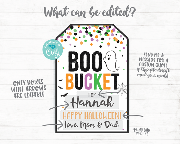 Boo Bucket Tags Halloween Favor Tags Halloween Boo Basket 2020 Halloween Printable Halloween Gift Tag Editable Social Distancing Pandemic