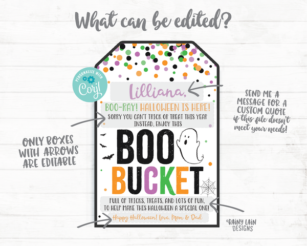Boo Bucket Tags Halloween Boo Basket 2020 Halloween Printable Halloween Gift Tag Favor Tag Editable Halloween Social Distancing Pandemic