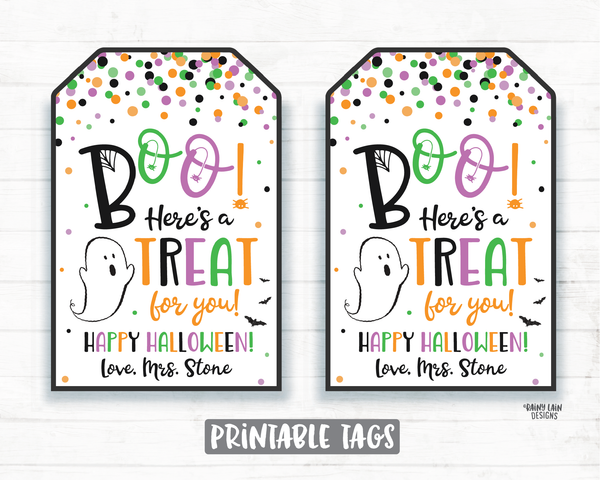 Hey Boo Here's a Treat for you Tags Halloween Printable Halloween Tag Editable Halloween Favor Tags Pumpkin Ghost Bats Spiderweb Party Tags