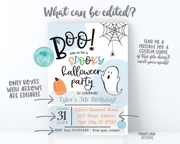 Halloween Birthday Party Invite Boo Halloween Party Invitation Boy Spooky Halloween Party Invitation Spiders Spiderweb ghost pumpkins