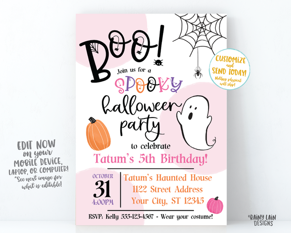 Halloween Birthday Party Invite Boo Halloween Party Invitation Girl Spooky Halloween Party Invitation Spiders Spiderweb ghost pumpkins