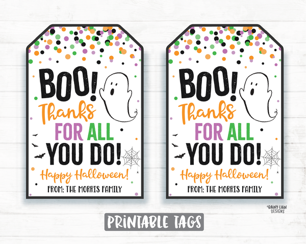 Boo Thanks for all you do tag Halloween Thank you Tags Halloween Printable Halloween Editable Halloween teacher tags employee thank you tag